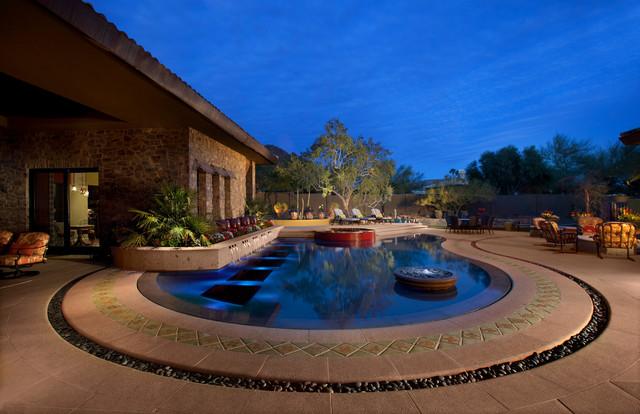 Hacienda modern pool southwestern pool phoenix for Pool design phoenix