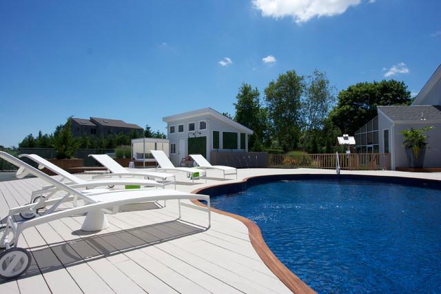 Hamptons family beach house beach style pool new for Pool design hamptons