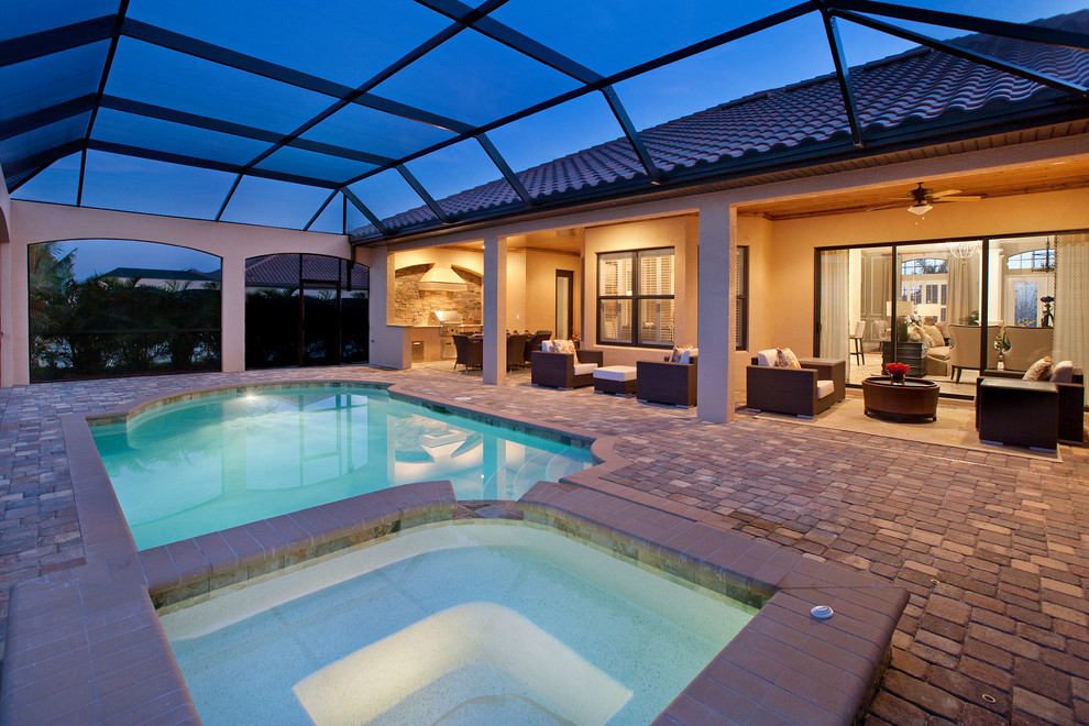 Huge elegant indoor concrete paver and rectangular pool fountain photo in Other