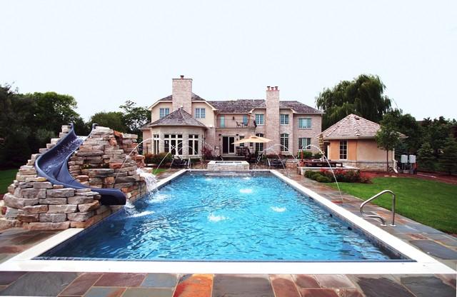 Higland Park Pool with Rock Slide traditional-pool