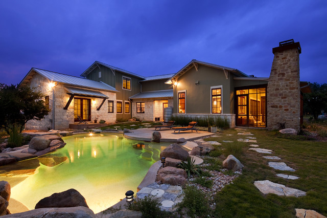 Hill Country Arts And Crafts Eclectic Pool Austin