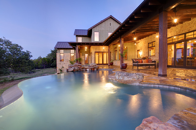 Hill Country Farmhouse eclectic pool