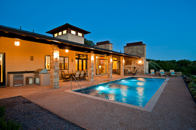 Hill Country Modern Parade Home Rear Elevation At Dusk
