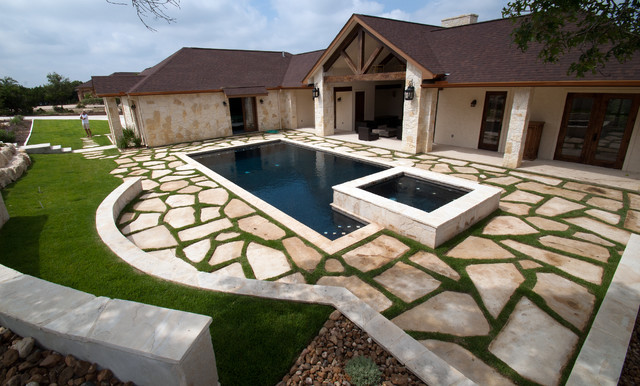 Hill country pool southwestern pool other by blue haven pools spas san antonio for Swimming pool builders san antonio
