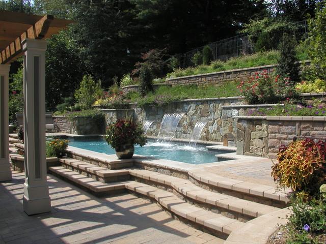 Hillside pool chevy chase md modern pool dc metro for Hillside pool ideas