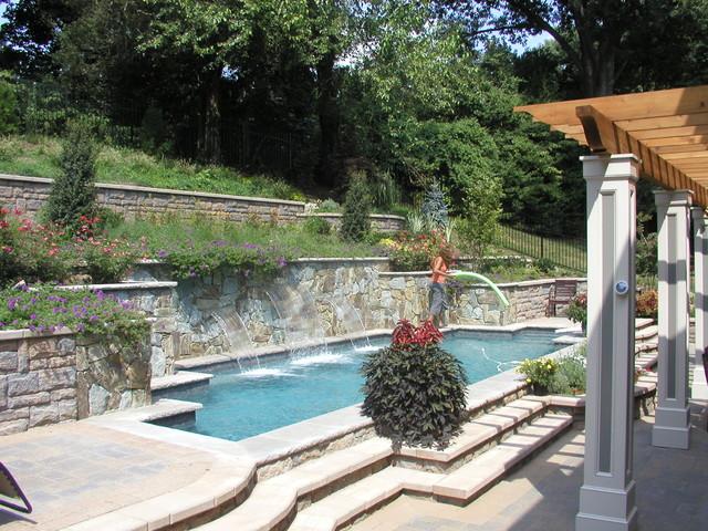 Hillside pool chevy chase md modern pool dc metro for Pool design hillside