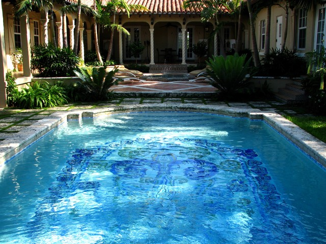 Historical gem mediterranean pool miami by bell for Arvida decoration inc