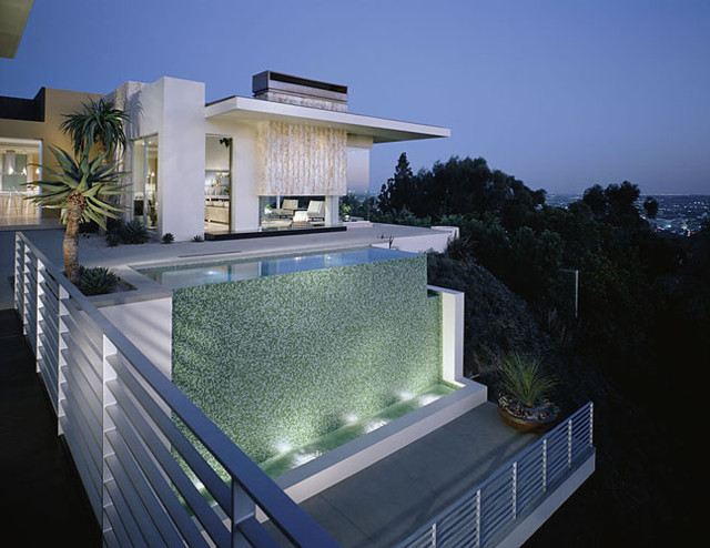 Hollywood Hills Glass Tile Swimming Pool Vanishing Edge Spa Entry Watershape Contemporary