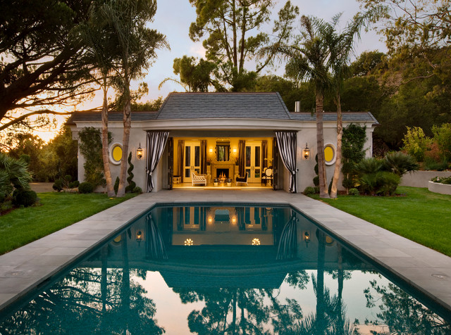 Hollywood regency montecito traditional pool for Interior pool house designs