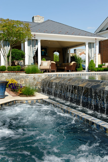 horse country residence - traditional - pool