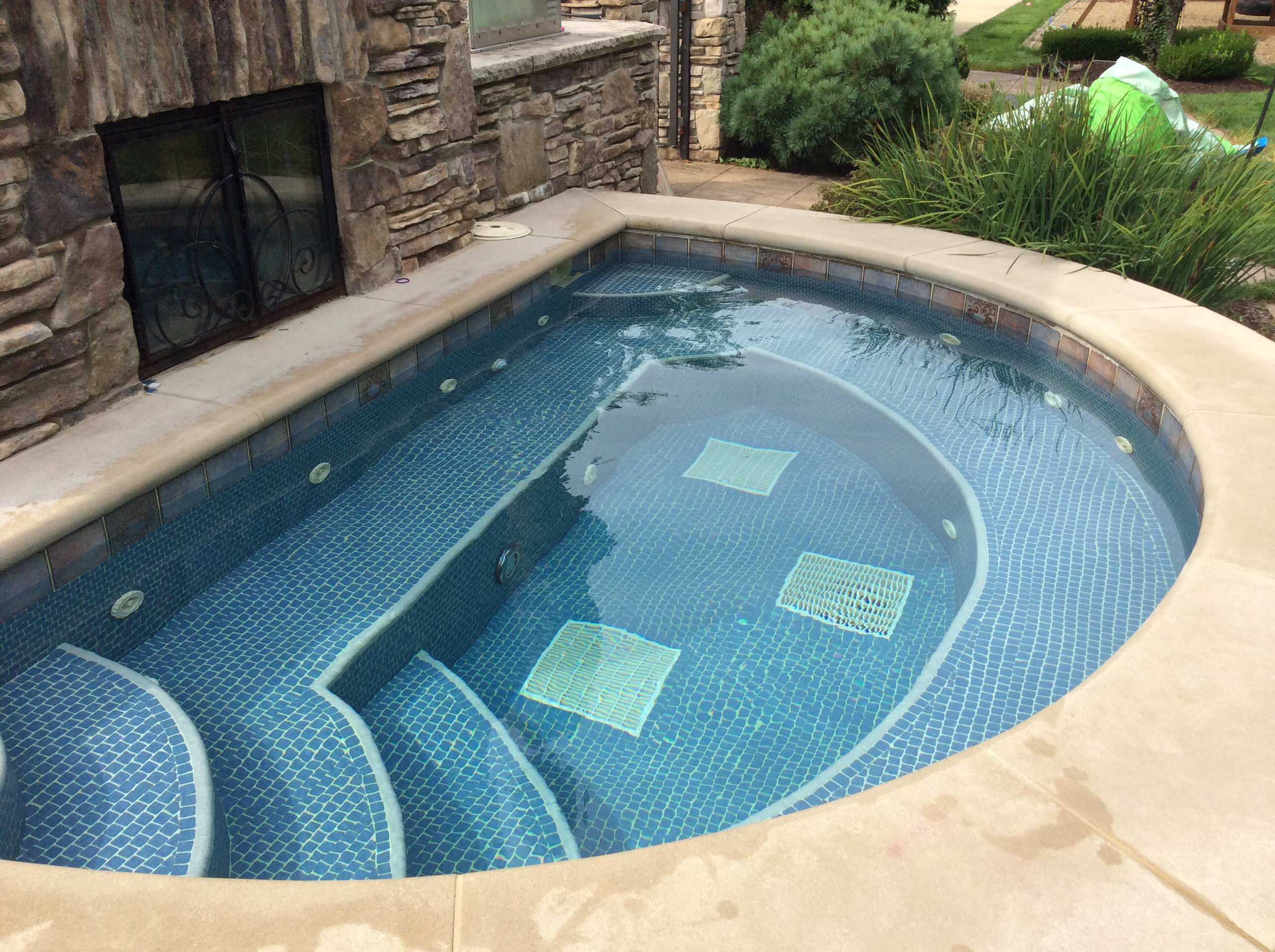 Hot Tub with attached Fireplace