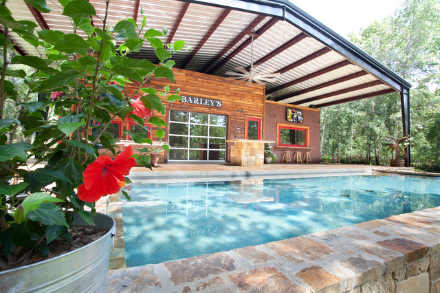 House With Steel Canopy Rustic Pool Dallas By