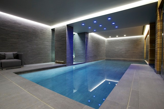 Indoor luxury swimming pool surrey modern pool new for Pool design indoor