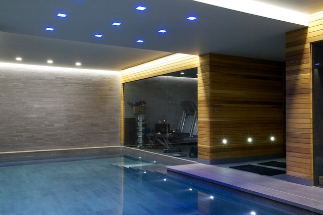Indoor luxury swimming pool surrey modern swimming for Modern contemporary swimming pools