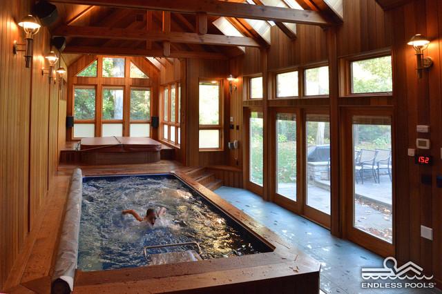 Indoor original endless pool craftsman pool boston - How much is an endless pool swim spa ...