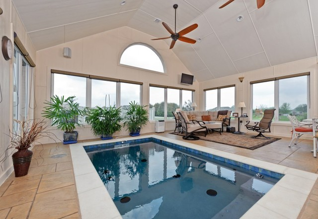 Home indoor pool and hot tub  Indoor pool/swim spa - Traditional - Swimming Pool & Hot Tub ...