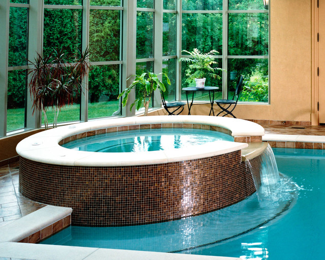 Indoor Pool With Raised Spa and Glass Tile - Contemporary - Pool ...
