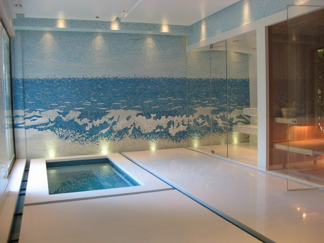 Indoor Wall Mosaic Waterfall Fountain - Contemporary - Pool - Los ...