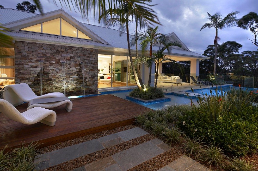 Pool - contemporary pool idea in Sydney with decking