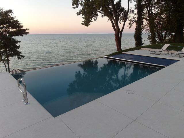 Infinity Edge Fiberglass Pool With Automatic Cover Beach