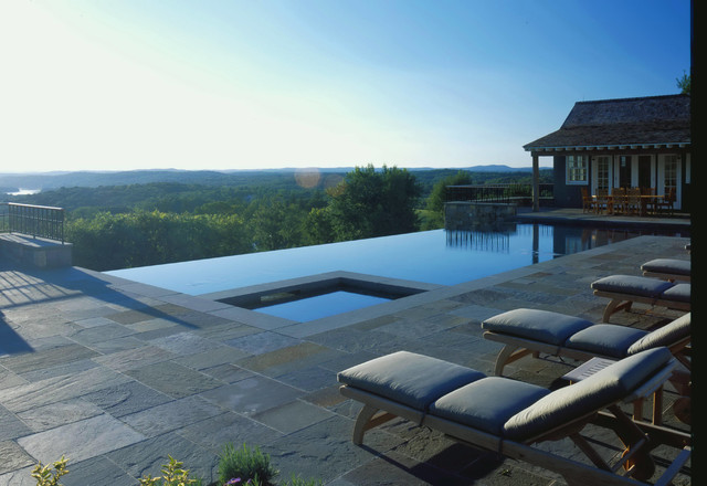 Infinity edge pool farmhouse pool new york by harris landscape architecture - Infinity edge swimming pool ...