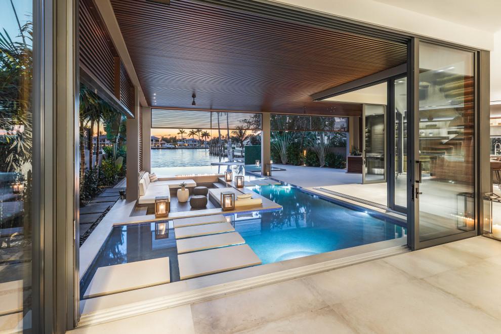 Infinity Edge Pool With Sunken Seating Area In Fort Lauderdale Modern Pool Miami By Van Kirk Sons Pools And Spas