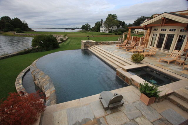 Infinity pool overlooking long island sound contemporary for Pool design long island ny