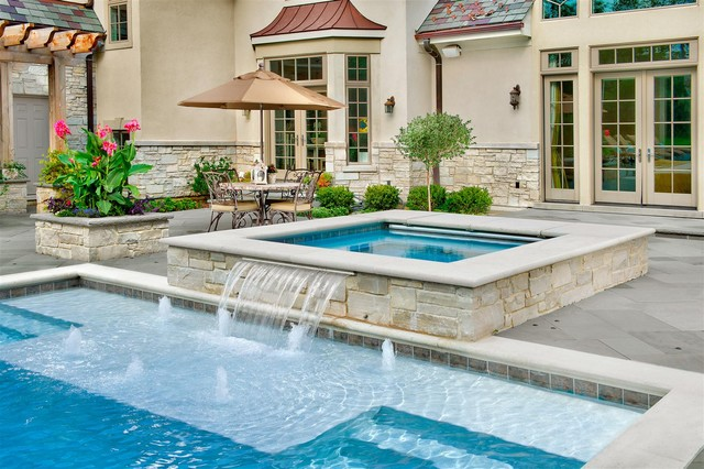 inground pools with waterfalls and hot tubs. Inground Pool \u0026 Spa Traditional-pool Pools With Waterfalls And Hot Tubs