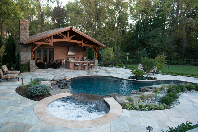 Inground Pool Spa with Cabana Rustic Pool New York by