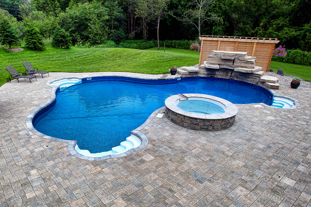 Inground Pool With Fountains Waterfall And Built In Spa Modern Pool Ottawa By Mermaid Pools Hot Tubs Houzz