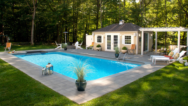 Inground Pool With Pool House And Fire Pit Contemporary