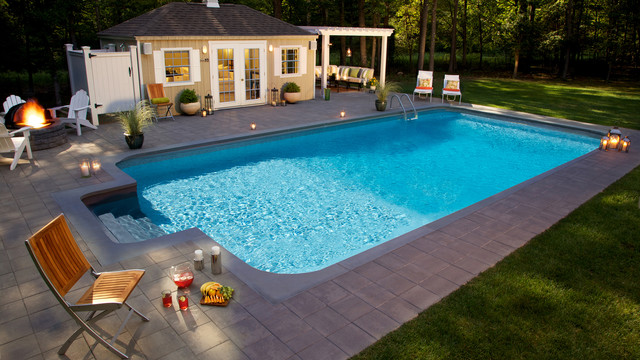 Inground Pool With Pool House And Fire Pit Farmhouse Pool New York By Fairfield Pool