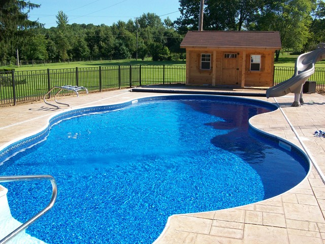 Inground Pool With Pool House Pool Cleveland By Litehouse Pools