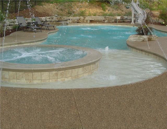 Inground swimming pool deck around gunite pool in white for Pool decks for inground pools