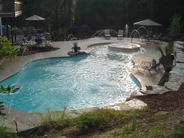 Inground Swimming Pool Deck Around Gunite Pool In White Lake Tropical Poo