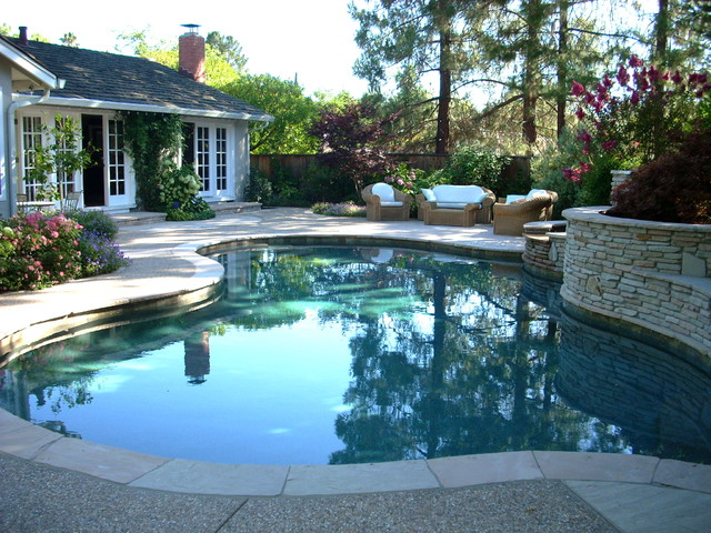 Intimate Pool,Spa, & Outdoor Living Space transitional-pool