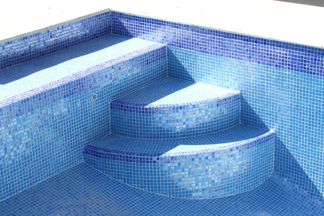 Iridescent Blue Gl Tile Traditional Pool Miami By