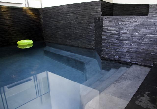 Island Stone Silver Quartzitic Slate Rustic Pool modern-pool