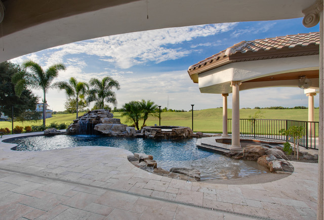 Ivory Cream Travertine Pavers Coping Tropical Pool