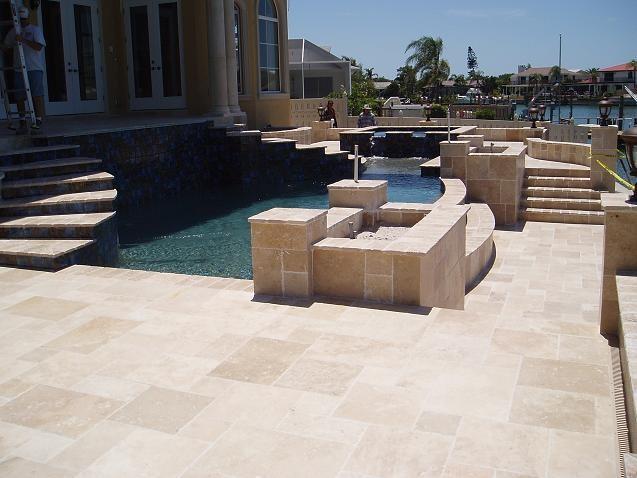 Ivory french pattern travertine pavers mediterranean for Pool design pattern