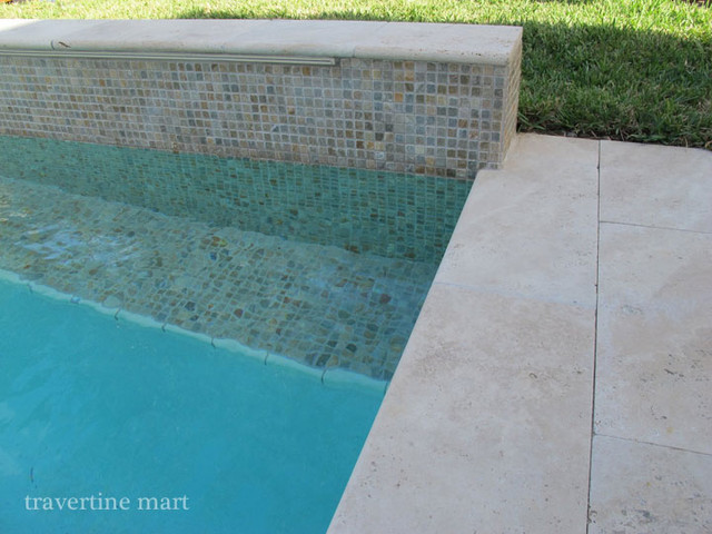 Ivory Travertine Pool Coping and Deck Tiles modern-pool