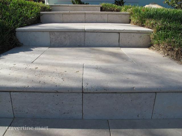 Ivory Travertine Pool Coping Stair Treads Modern