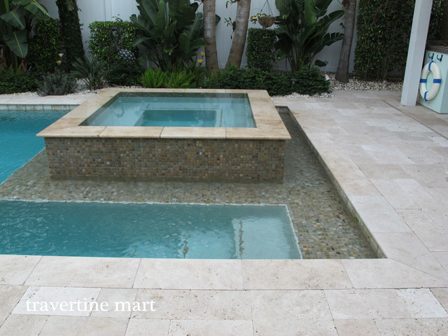Ivory Travertine Pool Deck Pavers and Tiles contemporary-pool