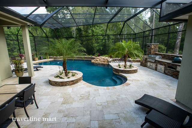 Ivory Travertine Pool Decking And Pavers Traditional