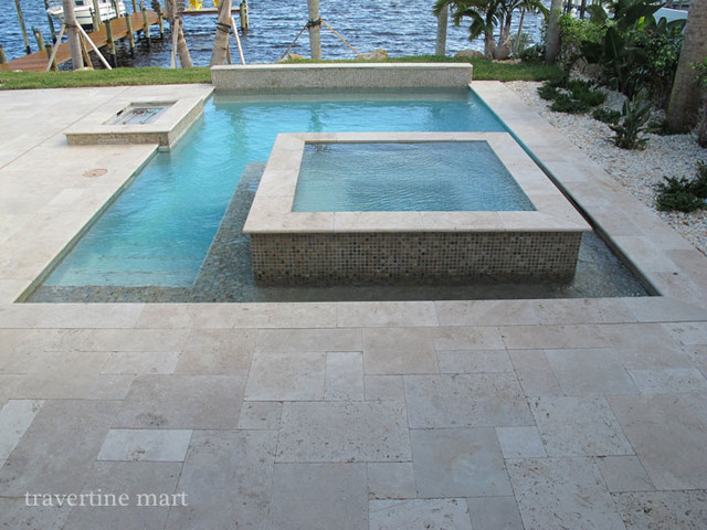 Ivory Tumbled Travertine Pool Deck Tiles and Pavers modern-pool