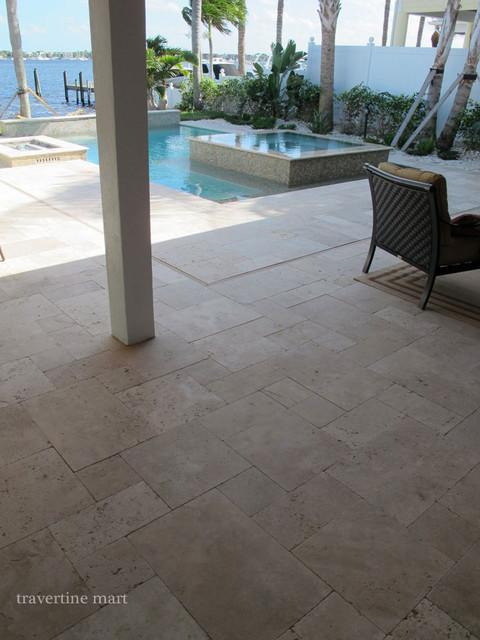 Ivory Tumbled Travertine Pool Tiles and Pavers modern-pool