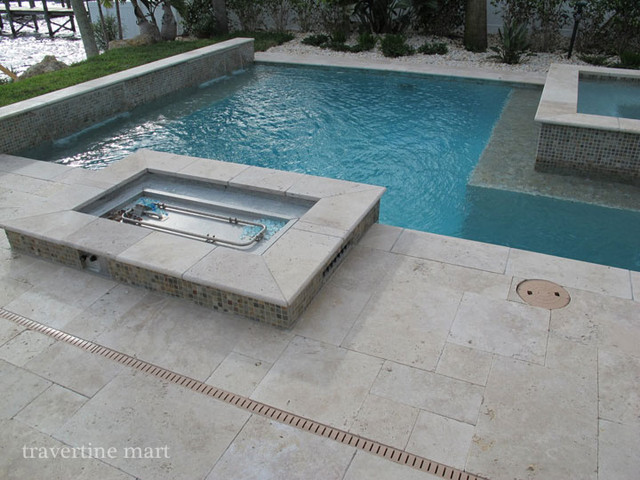 Ivory Tumbled Travertine Pool Tiles And Pavers Modern