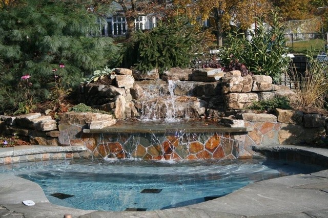 Pool with Waterfall 2 traditional-pool