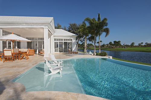 Love this pool and the tanning ledge sun deck have you for Pool design with tanning ledge