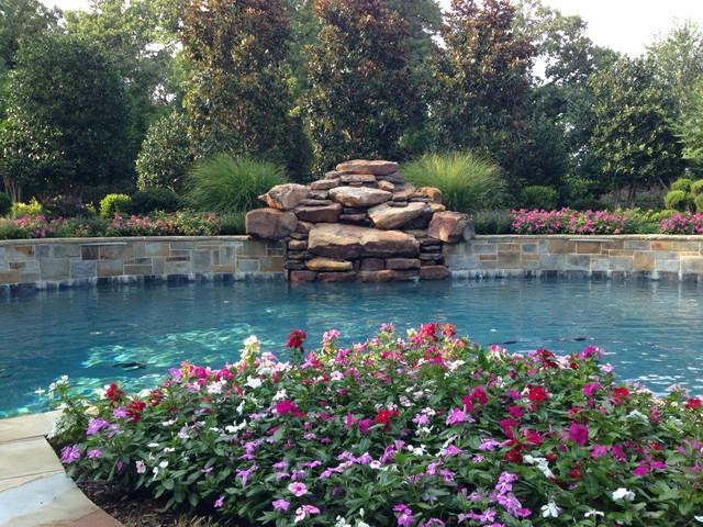 Katy pool spa and waterfall mediterranean pool for Pool design katy